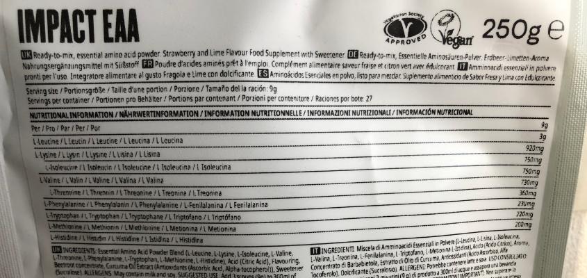 マイプロテインのEAA「ストロベリー&ライム」味の成分表1