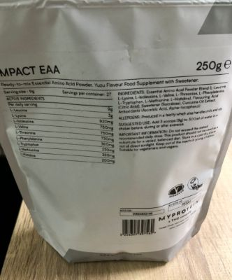 マイプロテインのEAA「ゆず」味の成分表1