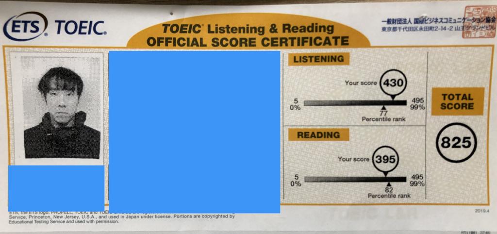 TOEIC勉強10ヶ月後の点数